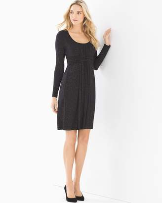 Soft Jersey Long Sleeve Wrapped Waist Dress Glittered Black