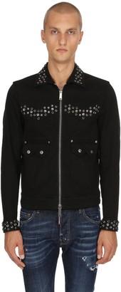 DSQUARED2 Studded Zip-Up Cotton Denim Jacket