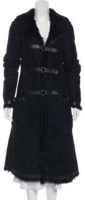DKNY Leather-Accented Shearling Coat