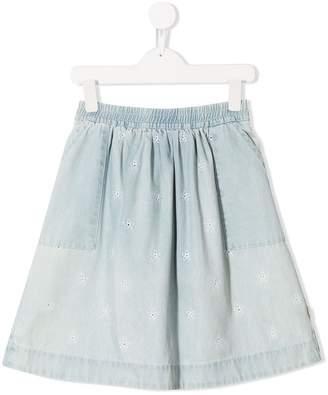 Little Marc Jacobs floral embroidered denim skirt