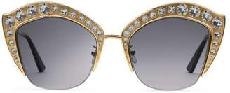 Gucci Cat eye metal sunglasses with crystals