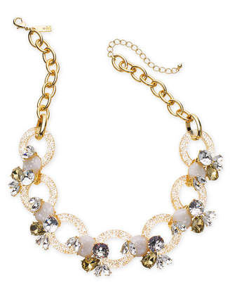 """INC International Concepts I.n.c. Gold-Tone Crystal & Stone Link Statement Necklace, 19"""" + 3"""" extender, Created for Macy's"""