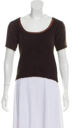 Blumarine Rib Knit Short Sleeve Sweater