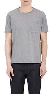 Valentino Men's Studded-Collar Cotton T-Shirt - Light Gray