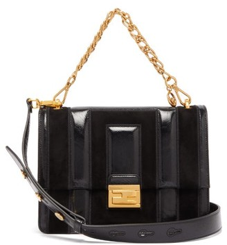 Fendi Kan U Medium Leather And Suede Cross Body Bag - Womens - Black