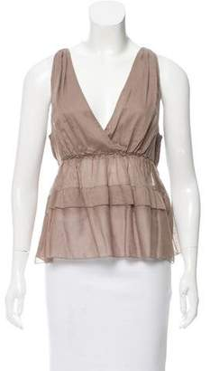 Miu Miu Sleeveless Knit Peplum Top