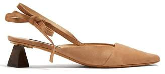 Jacquemus Ornamental-heel suede slingback pumps