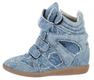 Isabel Marant Beckett Denim Wedge Sneakers