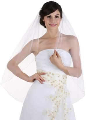 Venus Jewelry 1T 1 Tier Beaded Edge Bridal Wedding Veil - V294