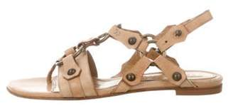 Alexander McQueen Leather Ankle Strap Sandals Tan Leather Ankle Strap Sandals