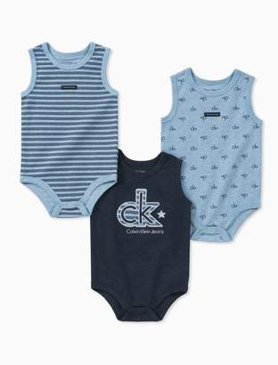 Calvin Klein baby boys 3-pack sleeveless onesies
