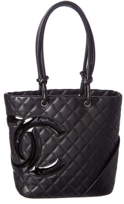 Chanel Black Quilted Lambskin Leather Medium Cambon Tote