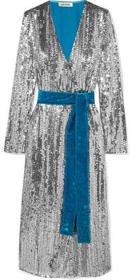 ATTICO Wrap-effect Paneled Sequined Crepe And Velvet Midi Dress - Silver