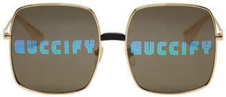 02eb7f0794cc Gucci Gold Oversized Rectangular Sunglasses