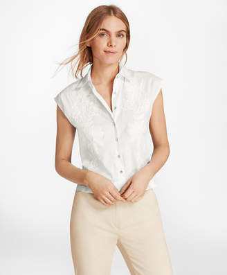 Brooks Brothers Floral-Embroidered Stretch-Cotton Cropped Shirt