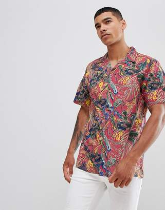 Pull&Bear floral shirt with revere collar in pink