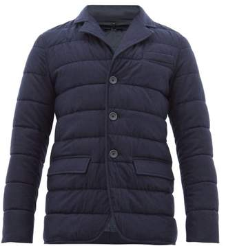 Herno Detachable Funnel Neck Quilted Flannel Jacket - Mens - Navy