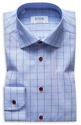 Eton Windowpane Regular Fit Dress Shirt