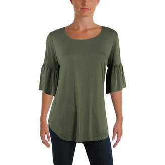 Karen Kane Womens Knit Scoop Neck Casual Top Green M