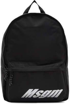 MSGM Black Logo Print Backpack