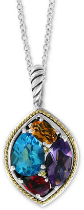 "Effy Multi-Gemstone 18"" Pendant Necklace (4-5/8 ct. t.w.) in Sterling Silver & 18k Gold"