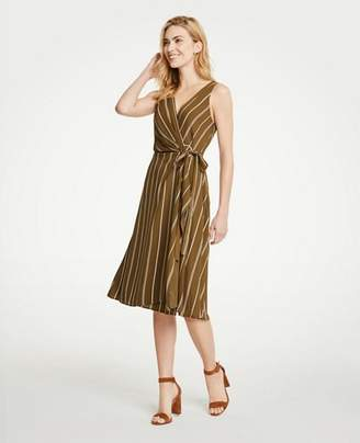 Ann Taylor Petite Stripe Belted Wrap Dress