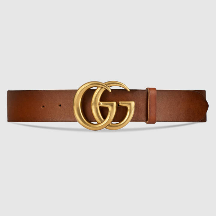 Leather belt with double G buckle 19