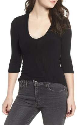 BP U-Neck Rib Knit Top (Regular & Plus Size)