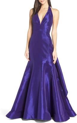 Mac Duggal Halter Neck Pleated Taffeta Mermaid Gown
