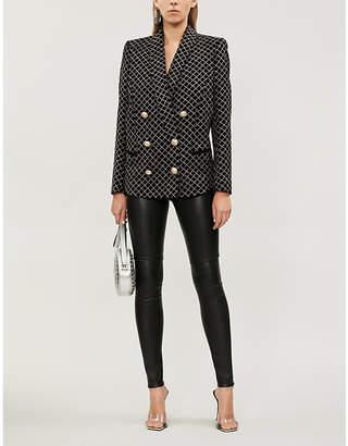 Balmain Double-breasted glittered checked velvet blazer