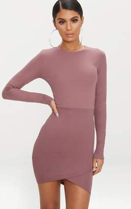 PrettyLittleThing Dark Mauve Long Sleeve Wrap Skirt Bodycon Dress
