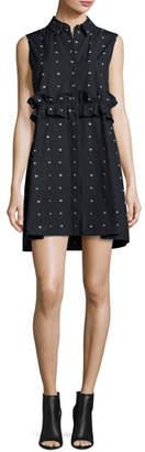 McQ Alexander McQueen Poplin Swallow-Print Ruffle Shirtdress, Black $530 thestylecure.com