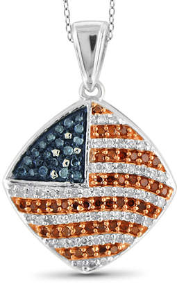 FINE JEWELRY 1/3 CT. T.W. White and Color-Treated Red & Blue Diamond Flag Pendant