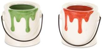 Melrose Pack of 12 Decorative Red and Mini Paint Bucket