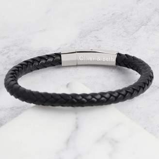 At Notonthehighstreet Lisa Angel Engraved Men S Black Leather Bracelet