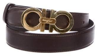 Salvatore Ferragamo Gancini Leather Skinny Belt