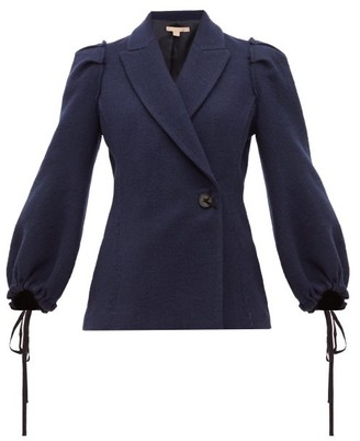 Brock Collection Pandolfi Double Breasted Boucle Jacket - Womens - Navy