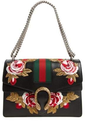 Gucci Medium Dionysus Embroidered Roses Leather Shoulder Bag