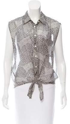 Equipment Silk Button-Up Sleeveless Top