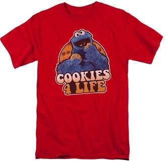 Sesame Street Kid's TV Show Cooky Monster Cookies 4 Life Adult T-Shirt Tee