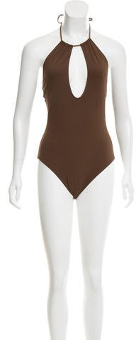 Michael Kors Leather-Accented Keyhole Swimsuit