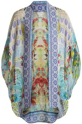Camilla Masking Madness-print silk cape