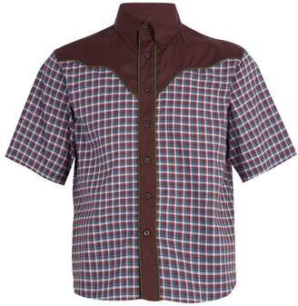 Prada Checked Western Cotton Shirt - Mens - Burgundy Multi