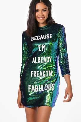 boohoo Boutique Jay Sequin Slogan Bodycon Dress $62 thestylecure.com