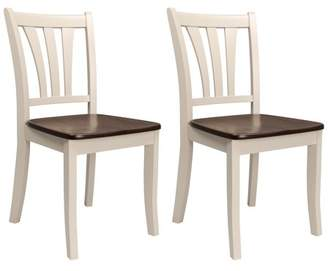 CorLiving Dillon Dark Brown and Cream Solid Wood Dining Chairs with Curved Vertical Slat Design, Set of 2