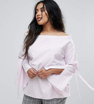 Bardot Unique 21 Hero Plus Blouse With Exaggerated Sleeve In Stripe