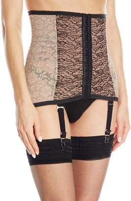 Rago Women's Firm Shaping Fashion Waist Cincher with Removable Garters, Mocha/Black