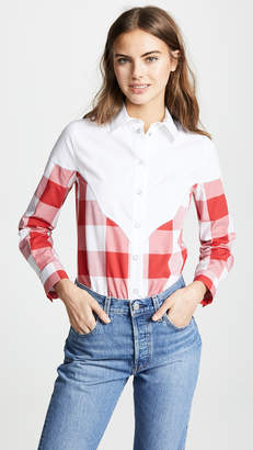 Stella Jean Plaid Combo Button Down Shirt