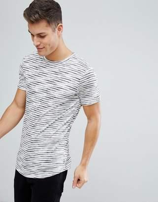 Jack and Jones Originals Stripe T-Shirt With Curved Hem