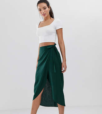 Asos Tall DESIGN Tall wrap midi skirt with tie side